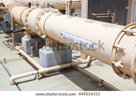 Effluent piping at a wastewater treatment plant
