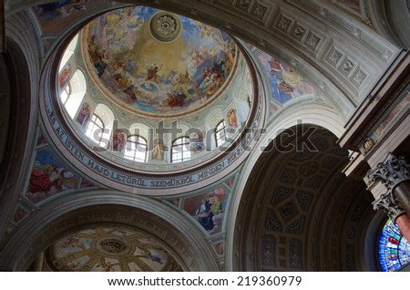 EGER, HUNGARY- CIRCA AUGUST, 2014- Interior of Cathedral (or St John basilica of Eger). Cathedral - is only one Classicist building in Eger, second largest church in Hungary.