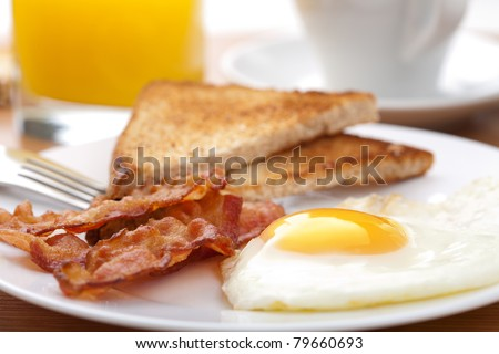 egg and bacon with toast - stock photo