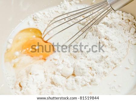 Egg and Flour - stock photo