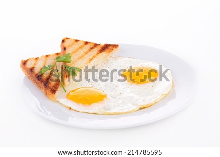 egg and toast - stock photo