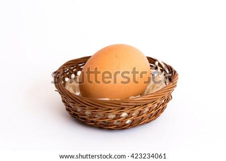 Egg basket white background. - stock photo