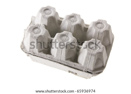 Egg Carton on White Background - stock photo