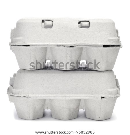 egg cartons on a white background - stock photo