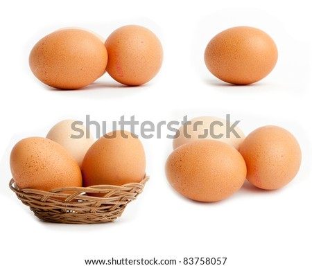Egg collection isolated on white background. Brown eggs in a Wicker basket. - stock photo