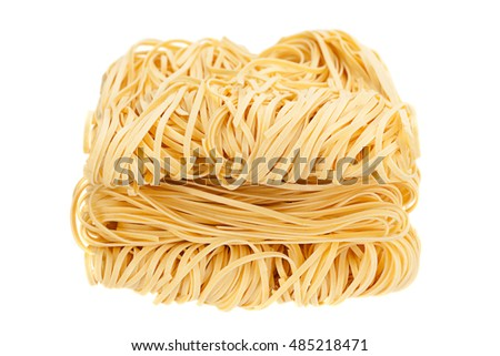 Egg dry long noodle isolated on white background