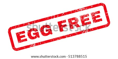 Egg Free Text rubber seal stamp watermark. Tag inside rectangular banner with grunge design and unclean texture. Slanted glyph red ink sticker on a white background.