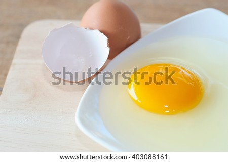 Egg, Fresh egg on dish with egg shell, Prepare egg for cooking
