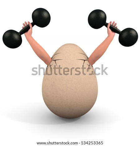 Egg holds a dumbbell. Illustration on body building and health subjects. - stock photo