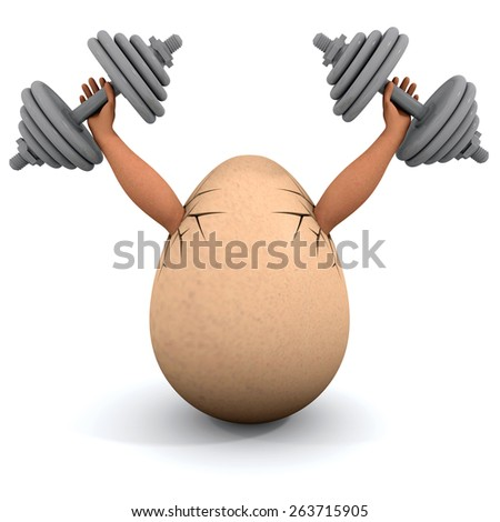 Egg holds a dumbbells. Illustration on the white background