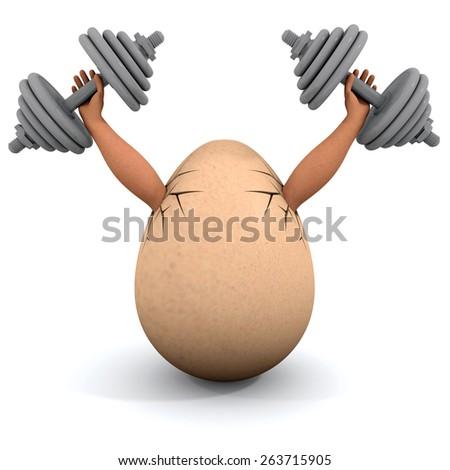 Egg holds a dumbbells. Illustration on the white background - stock photo