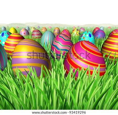 Egg hunt and hunting for Easter eggs in a field of green grass after a bunny was hiding the decorated oval spheres for children to find as a rewarding fun game of treasure hunting on a white. - stock photo