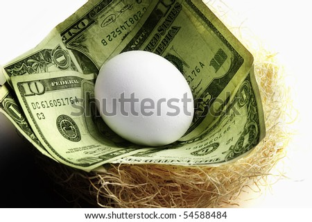 egg in a nest with cash, symbolizing retirement or money saving - stock photo