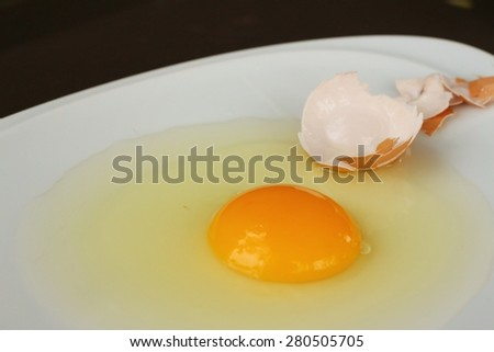 Egg in a white bowl on a table.