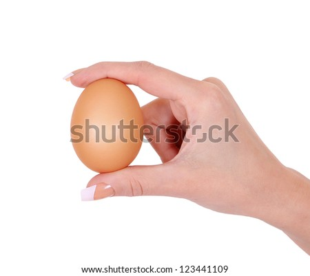 egg in woman hand isolated on white background - stock photo