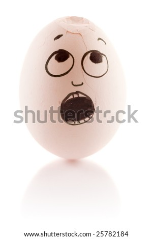 Egg is scared as it is damaged - stock photo