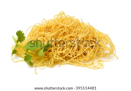 Egg noodles, isolated on white background.