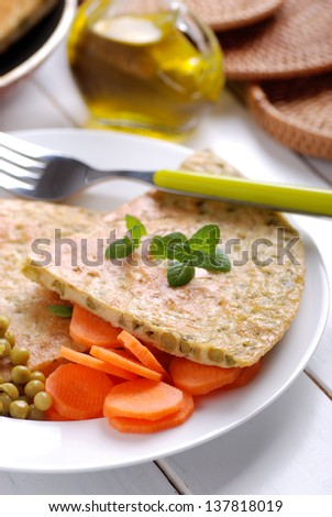 egg omelet with peas on dish