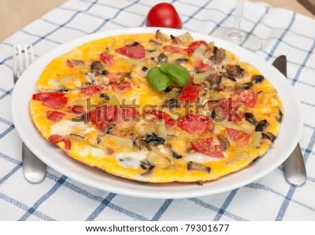 Egg Omelette With Tomatoes, Pepper, Mushrooms - stock photo