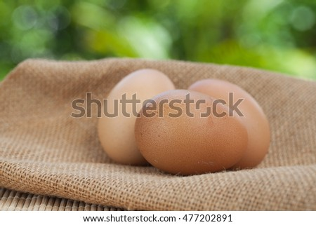 Egg on sackcloth and wooden, natural background