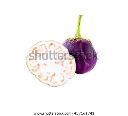 Egg plant on white background - stock photo