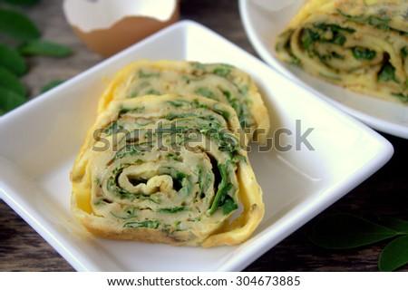 Egg rolls with Moringa Leaves. Selective focus - stock photo