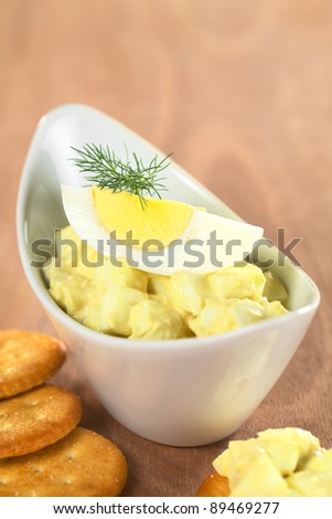Egg salad garnished with boiled egg and dill served with crackers (Selective Focus, Focus on the egg yolk and the front of the dill) - stock photo