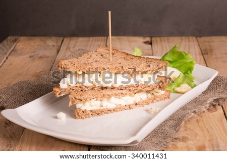 Egg Salad Sandwiches with Whole Grain Bread.  - stock photo