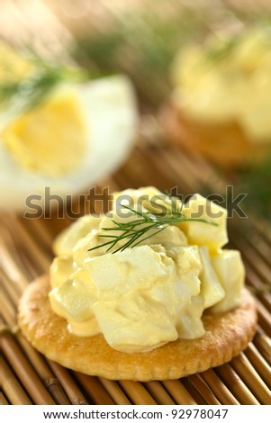 Egg salad served on cracker garnished with dill (Selective Focus, Focus on the upper egg piece in the front on the cracker and the front of the dill) - stock photo