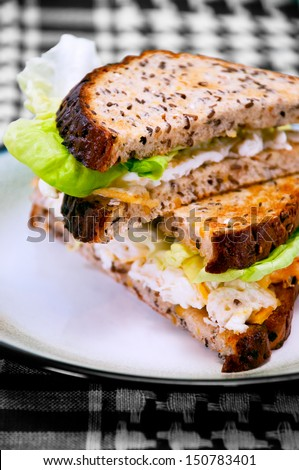 Egg Sandwich on a plate  - stock photo