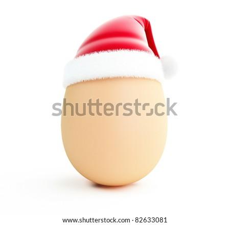 egg santa hat isolated on a white background - stock photo