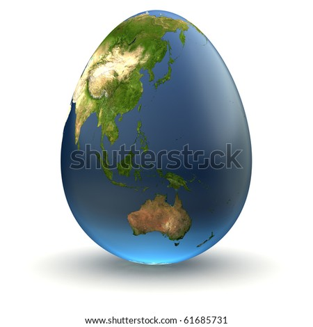 Egg-shaped realistic earth globe with highly detailed terrain textures facing Australia, New Zealand, Indonesia and Oceania