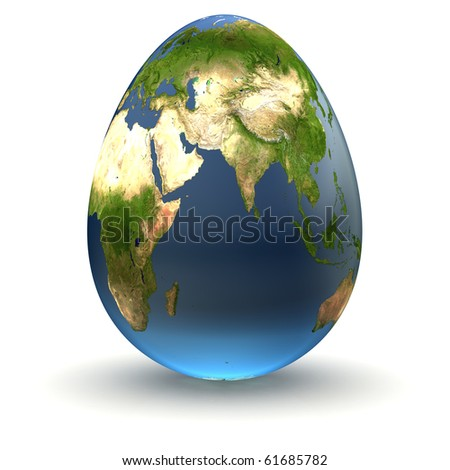 Egg-shaped realistic earth globe with highly detailed terrain textures facing Central Asia and East Africa - stock photo