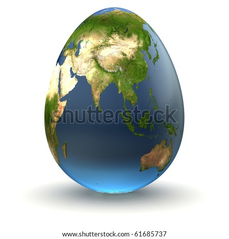 Egg-shaped realistic earth globe with highly detailed terrain textures facing Eastern Asia and Indonesia - stock photo