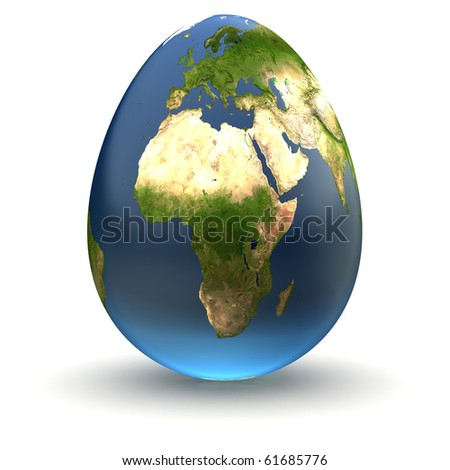 Egg-shaped realistic earth globe with highly detailed terrain textures facing Europe and Africa