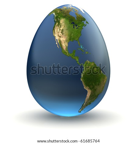 Egg-shaped realistic earth globe with highly detailed terrain textures facing North and Central America - stock photo