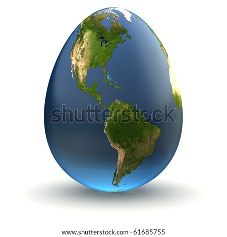 Egg-shaped realistic earth globe with highly detailed terrain textures facing the Americas - stock photo