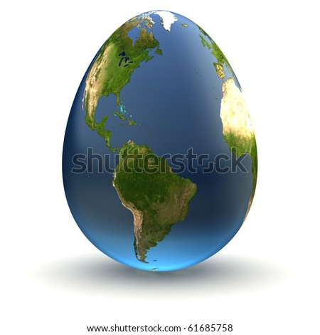 Egg-shaped realistic earth globe with highly detailed terrain textures facing the Americas and the Atlantic Ocean - stock photo