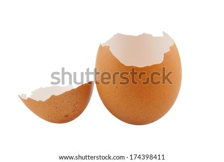 Egg shells isolated on white background - stock photo