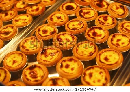 egg tart and Portugese custard tart or Pastel de nata - stock photo