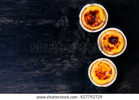 egg tart dessert / egg tart / sweet and delicious dessert - stock photo