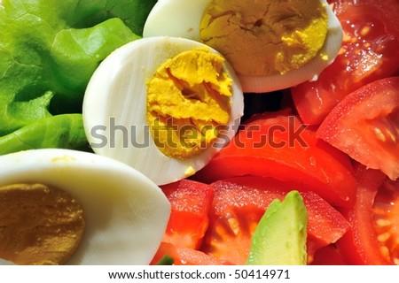 egg tomato and salad - stock photo