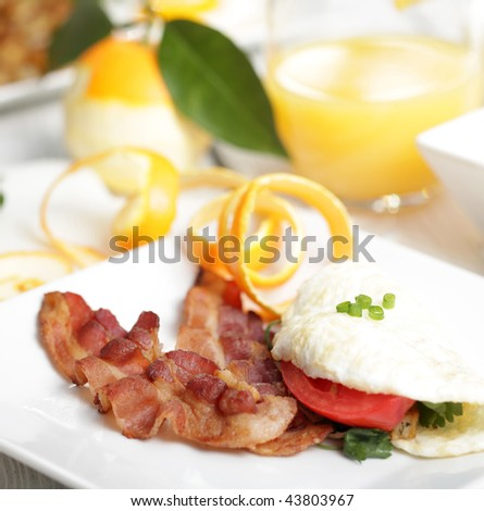 Egg white breakfast with bacon - stock photo