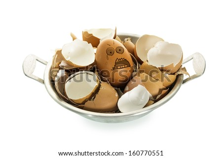 Egg with afraid face . Out of group eggshells isolate on white background. - stock photo