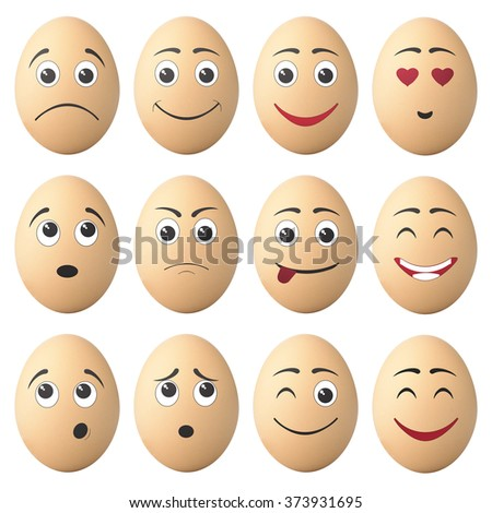 egg with cartoon faces isolated on white background with clipping path