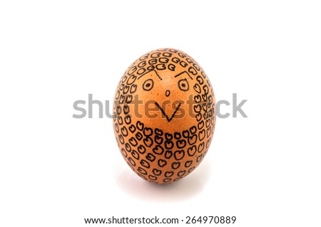 egg with small hearts and smile face on white background - stock photo