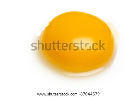 Egg yolk closeup on white - stock photo