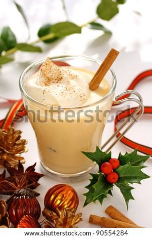 eggnog at christmas time - stock photo