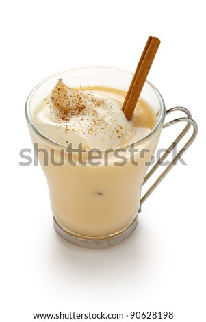 eggnog on a white background - stock photo