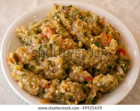 Eggplant Aubergine dip salad - Mediterranean Oriental Balkan mezze food - stock photo